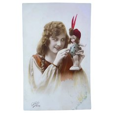 Vintage Real Photo French 1923 Postcard of Woman and Kewpie Doll