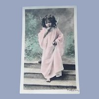 Vintage French Real Photo Postcard of Angel Child