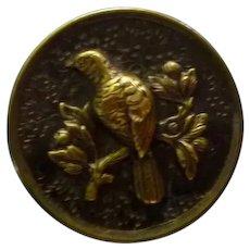 Large Vintage Victorian Brass 3 Piece Dove Bird Button