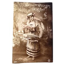 Vintage April Fool's French Real Photo Postcard of Lady and her Fish Catch