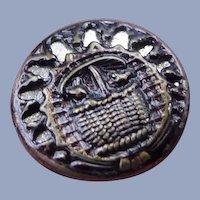 Vintage Brass Kittens in Basket Metal Button