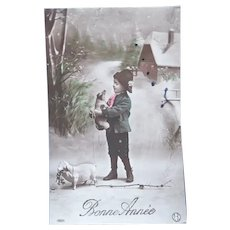 Vintage Real Photo New Years French Postcard of Boy and his Pet Pigs