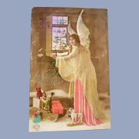 Vintage Real Photo German Postcard of Angel and Presents