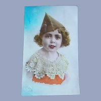 Cute Real Photo Vintage Postcard of Child in Lace Collar