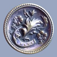 Vintage Brass Victorian Button of horse shoe and Flowers