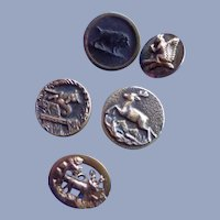 Five Small Vintage Animal Buttons