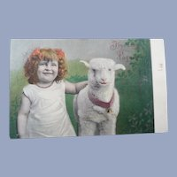 Cute Vintage child and lamb Real Photo French Postcard