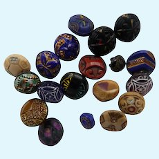 19 Vintage Assorted Pressed Glass Buttons Suitable for Doll's Clothes