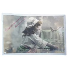Lovely Vintage French Real Photo Postcard of Girl and Her bird