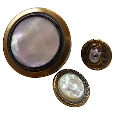 Three Vintage Victorian Brass Buttons with Pearl Centers