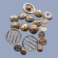 19 Early 1900's assorted Metal Buttons Including Four Model T car Ones