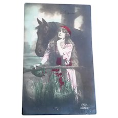 Vintage European Real Photo Postcard of Gypsy Lady and her Horse