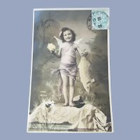 Vintage Real Photo French Postcard of Angel Holding a Fish