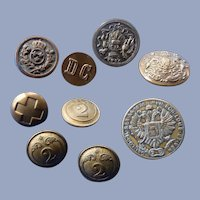Nine Metal Vintage Assorted Military Buttons