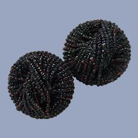 Two Vintage Black Glittery Beaded Buttons