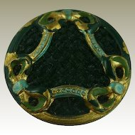 Art Nouveau Painted Metal and Fabric Button