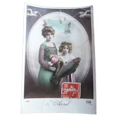 Vintage Real Photo French April Fool's Postcard of girl's and their Fish