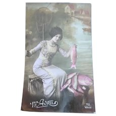 Vintage Real Photo French April Fools Postcard of a Lady and her fish