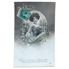Vintage April Fools Postcard of a Lady and Her Fish