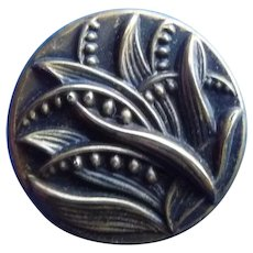 Vintage Brass Button of Lily of the Valley
