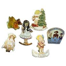 Six Doll Club Collector pins