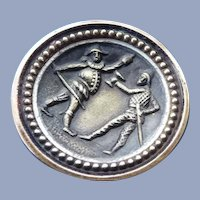 """Vintage 1"""" Punchinello and Harlequin Metal Button"""