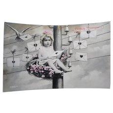 Vintage Real Photo German Postcard of Baby Girl sending Valentines