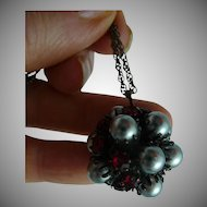 Grey Faux Pearl and Faux Ruby Pendant