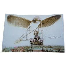 Vintage French Real Photo Surreal Postcard of a Child Riding a Bi Plane