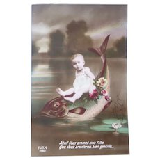 vintage Real Photo Surreal French Postcard of Baby Riding a Fish