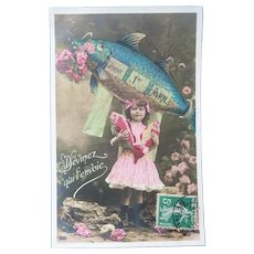 Vintage Real Photo French April Fool's Postcard of girl and Fish