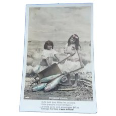 Vintage Real Photo French Postcard of Girls and Their Fish