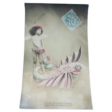 Vintage Real Photo French April Fools Postcard of Angel  and Pet Fish