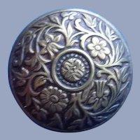 Vintage Domed Flower Brass Button