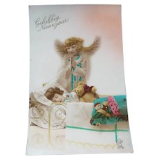 Vintage Real Photo Dutch Postcard of angel by child's bedside