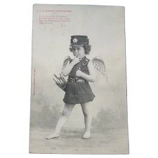Vintage Real Photo French Postcard of Police cupid of Love
