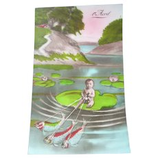 Vintage Real Photo Surreal French Postcard of Child Riding on a Lily Pad