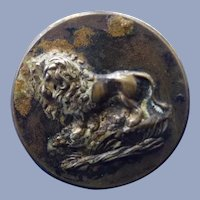 Vintage Brass French Lion Button