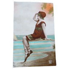Vintage Real Photo French Postcard of Bathing Beauty By the Sea