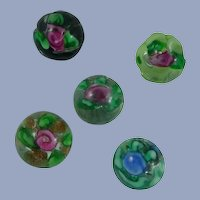 Five Paperweight Vintage Buttons