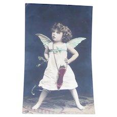 Vintage Real Photo Postcard of Cupid Angel