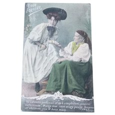 Vintage Real Photo Fortune Telling 1907 Postcard
