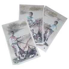 Three Vintage Real Photo French Easter Postcards of Boy and Chicks