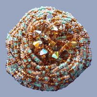 Fabulous Early 1960's signed Hobe Vintage Beaded Pin