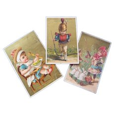 Three Vintage French Advertising trade cards suitable for projects or framing
