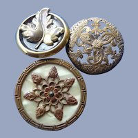 Three Vintage Metal Early 1900's Buttons