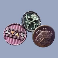 Three Vintage Victorian Metal Buttons
