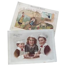 Two Vintage French Advertising Trade cards of Children.