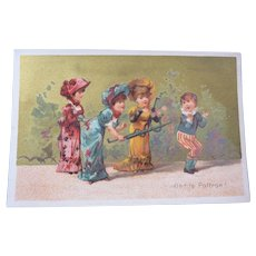 Vintage Au Bon Marche Advertising Trade card of Children with Snake