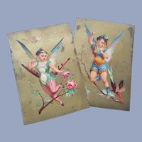 Two Vintage Fairy Birds Trade Cards